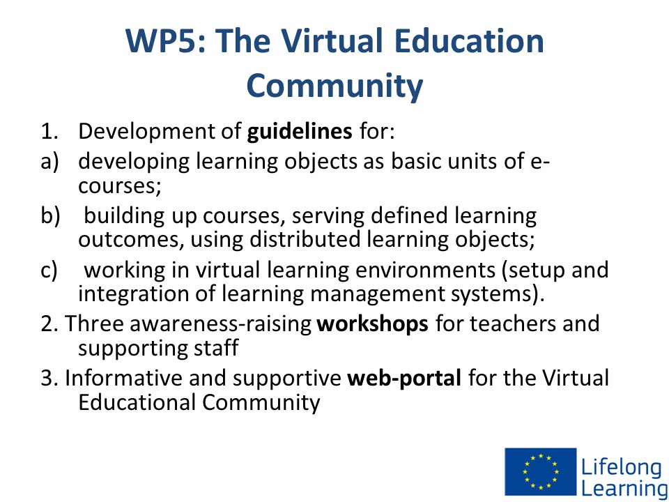 WP5: The Virtual Education Community 1.Development of guidelines for: a)developing learning objects as basic units of e- courses; b) building up cours