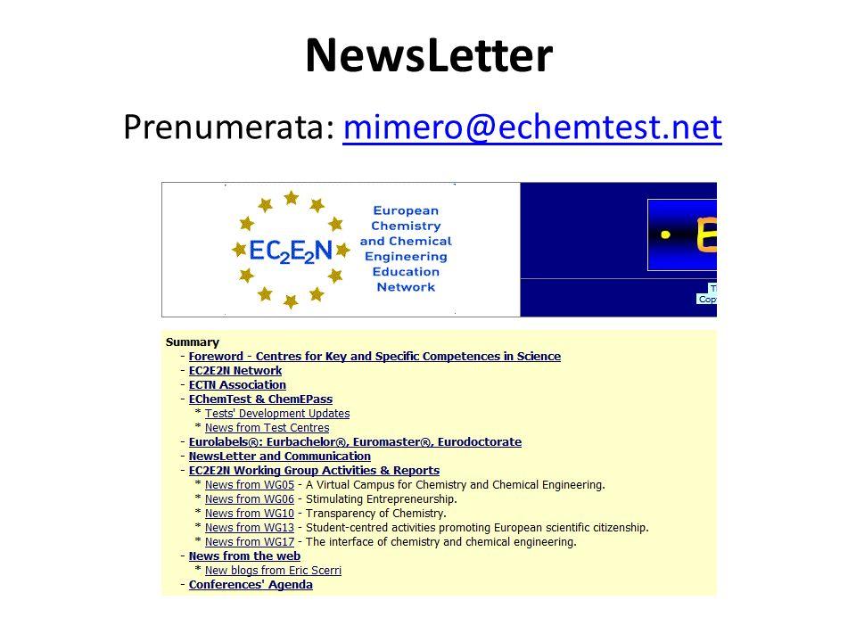 NewsLetter Prenumerata: mimero@echemtest.netmimero@echemtest.net