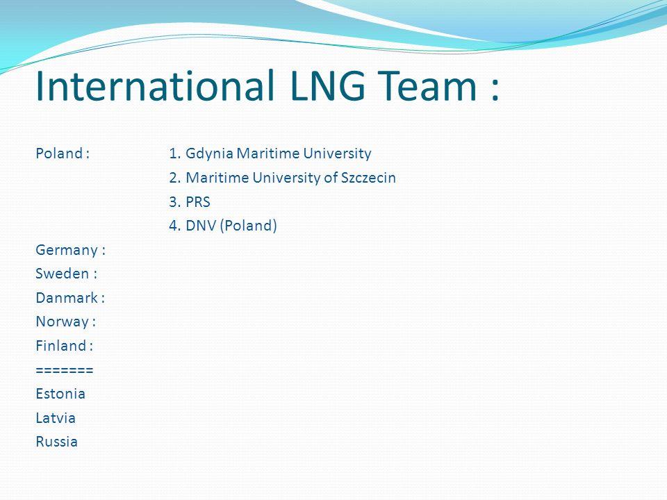 International LNG Team : Poland : 1. Gdynia Maritime University 2. Maritime University of Szczecin 3. PRS 4. DNV (Poland) Germany : Sweden : Danmark :