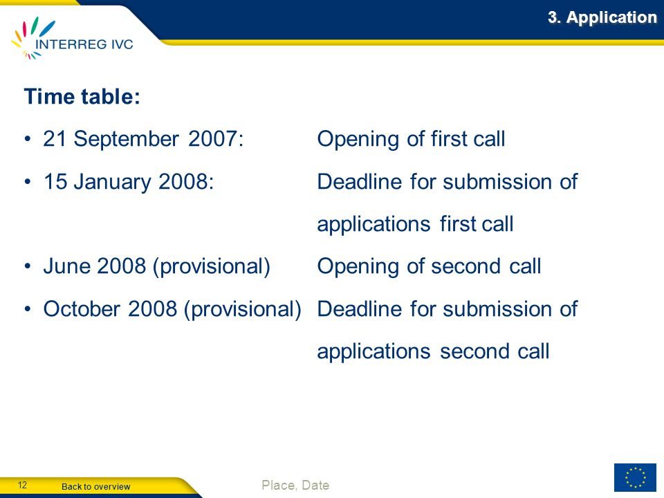 Back to overview 12 Place, Date 3. Application Time table: 21 September 2007:Opening of first call 15 January 2008:Deadline for submission of applicat