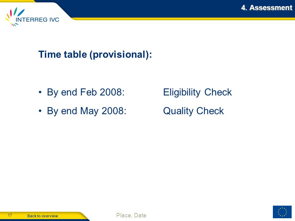 Back to overview 17 Place, Date 4. Assessment Time table (provisional): By end Feb 2008:Eligibility Check By end May 2008:Quality Check