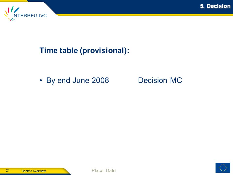 Back to overview 21 Place, Date 5. Decision Time table (provisional): By end June 2008Decision MC