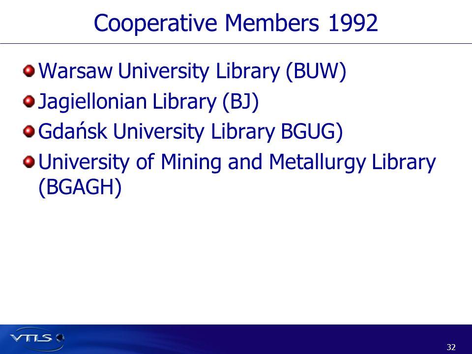 32 Cooperative Members 1992 Warsaw University Library (BUW) Jagiellonian Library (BJ) Gdańsk University Library BGUG) University of Mining and Metallu