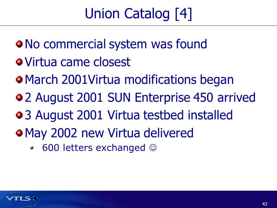 42 Union Catalog [4] No commercial system was found Virtua came closest March 2001Virtua modifications began 2 August 2001 SUN Enterprise 450 arrived