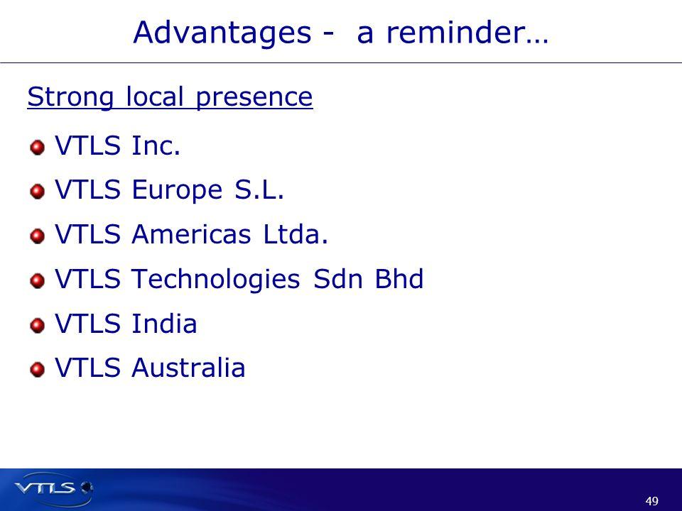 49 Advantages - a reminder… Strong local presence VTLS Inc. VTLS Europe S.L. VTLS Americas Ltda. VTLS Technologies Sdn Bhd VTLS India VTLS Australia
