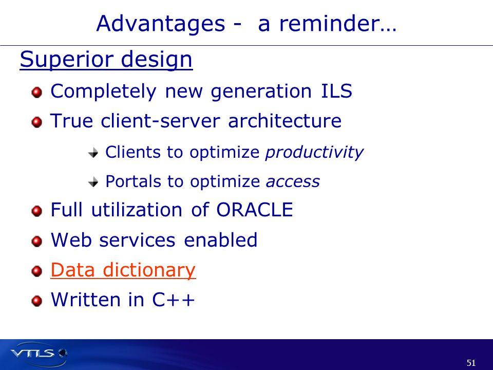 51 Advantages - a reminder… Superior design Completely new generation ILS True client-server architecture Clients to optimize productivity Portals to