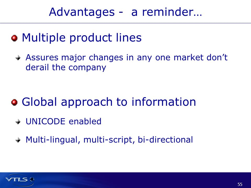 55 Advantages - a reminder… Multiple product lines Assures major changes in any one market dont derail the company Global approach to information UNIC