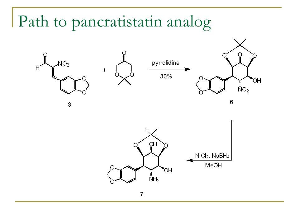 Path to pancratistatin analog pyrrolidine 30% 3 6 7