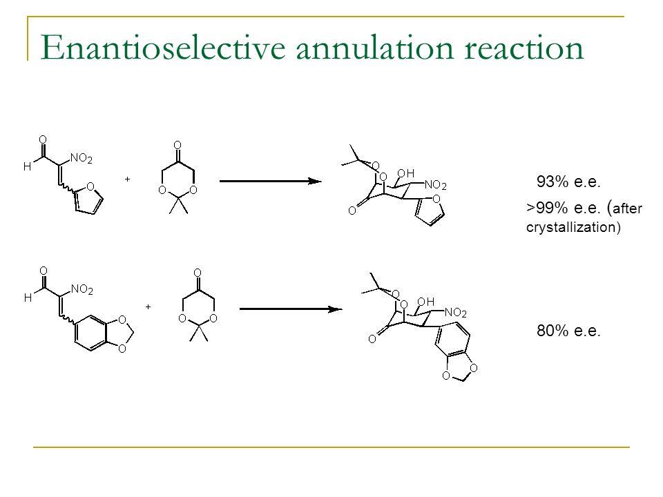 Enantioselective annulation reaction 93% e.e. >99% e.e. ( after crystallization) 80% e.e.