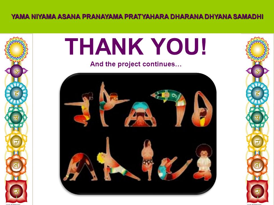 THANK YOU! And the project continues… YAMA NIYAMA ASANA PRANAYAMA PRATYAHARA DHARANA DHYANA SAMADHI