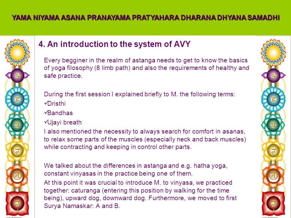 4. An introduction to the system of AVY YAMA NIYAMA ASANA PRANAYAMA PRATYAHARA DHARANA DHYANA SAMADHI Every begginer in the realm of astanga needs to
