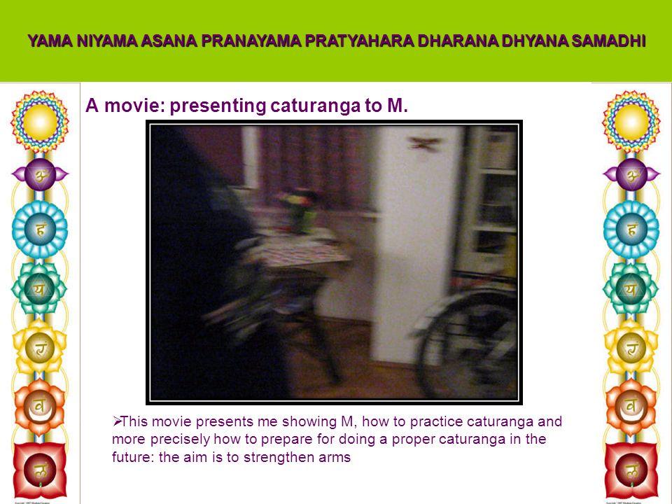 A movie: presenting caturanga to M. YAMA NIYAMA ASANA PRANAYAMA PRATYAHARA DHARANA DHYANA SAMADHI This movie presents me showing M, how to practice ca