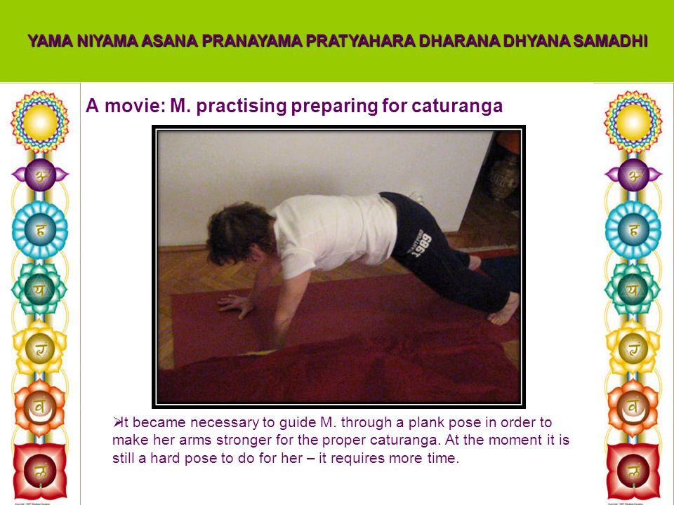A movie: M. practising preparing for caturanga YAMA NIYAMA ASANA PRANAYAMA PRATYAHARA DHARANA DHYANA SAMADHI It became necessary to guide M. through a