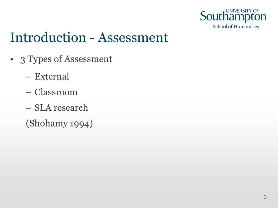 3 Introduction - Assessment 3 Types of Assessment –External –Classroom –SLA research (Shohamy 1994)