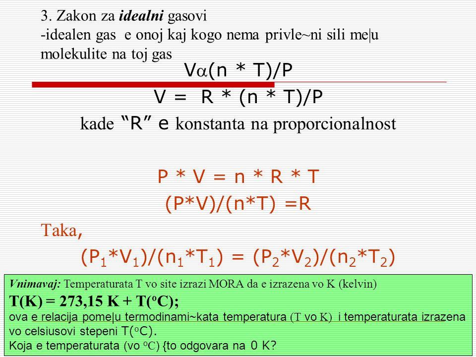 3. Zakon za idealni gasovi -idealen gas e onoj kaj kogo nema privle~ni sili me|u molekulite na toj gas V(n * T)/P V = R * (n * T)/P kade R e konstanta