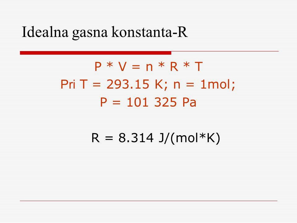 Idealna gasna konstanta- R P * V = n * R * T Pri T = 293.15 K; n = 1mol; P = 101 325 Pa R = 8.314 J/(mol*K)