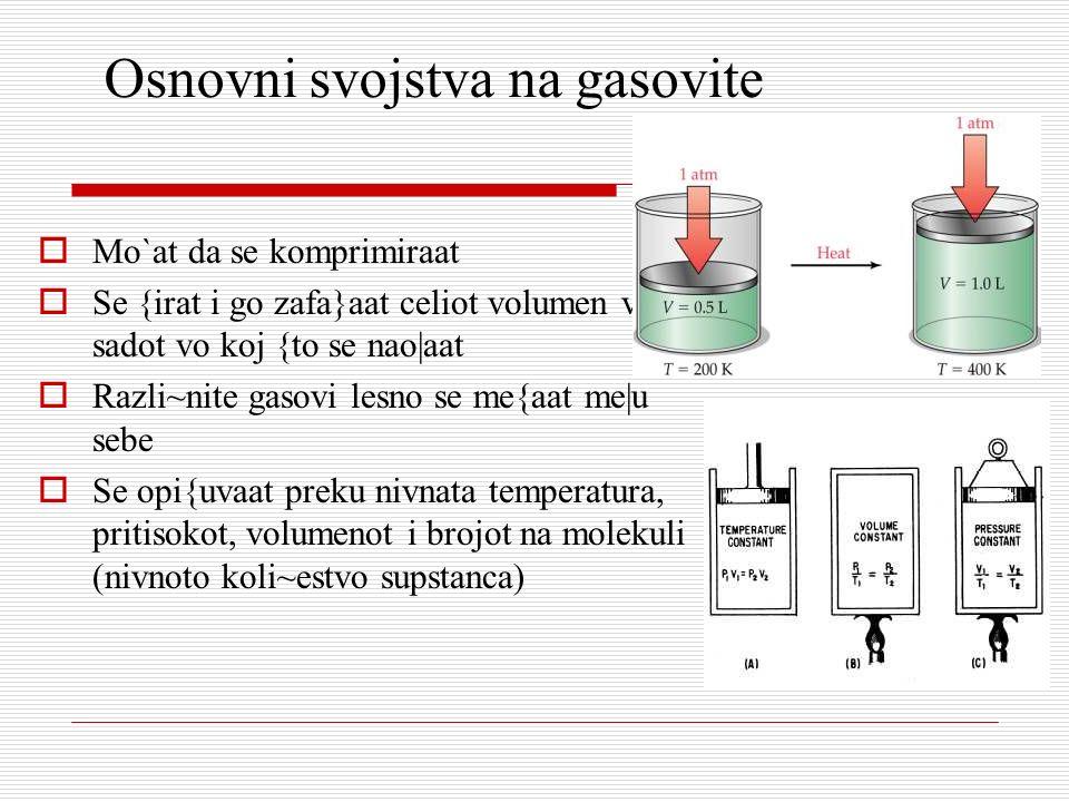 Osnovni svojstva na gasovite Mo`at da se komprimiraat Se {irat i go zafa}aat celiot volumen vo sadot vo koj {to se nao|aat Razli~nite gasovi lesno se