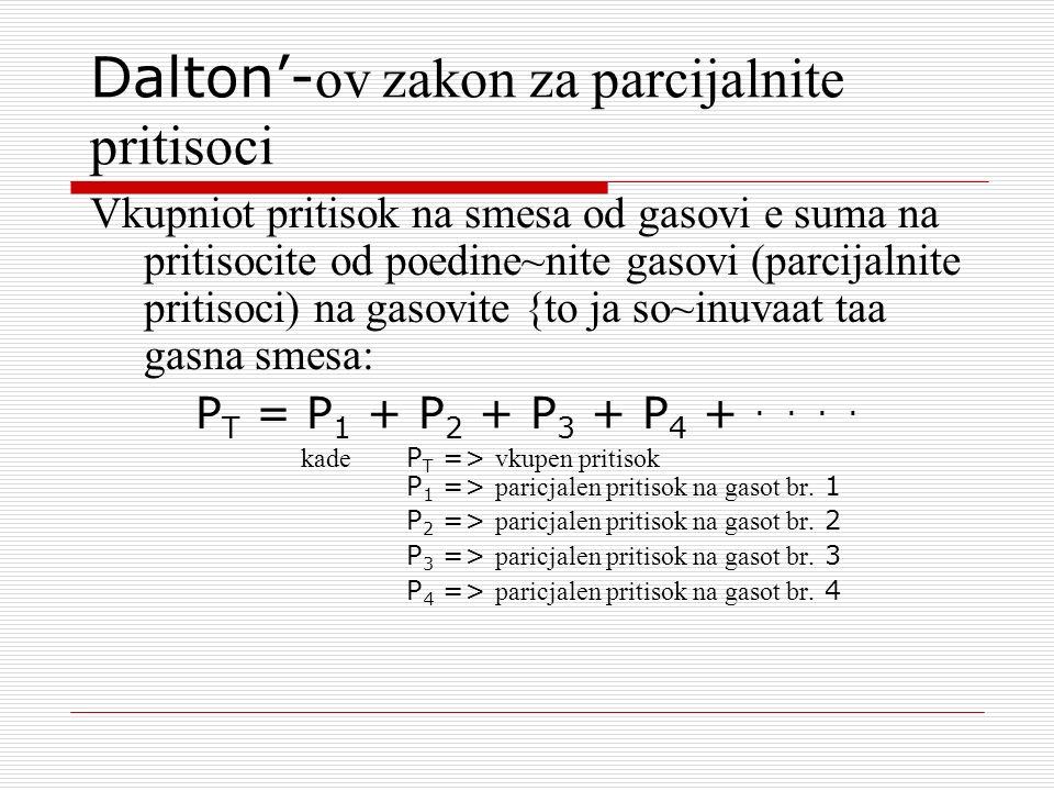 Dalton- ov zakon za parcijalnite pritisoci Vkupniot pritisok na smesa od gasovi e suma na pritisocite od poedine~nite gasovi (parcijalnite pritisoci)