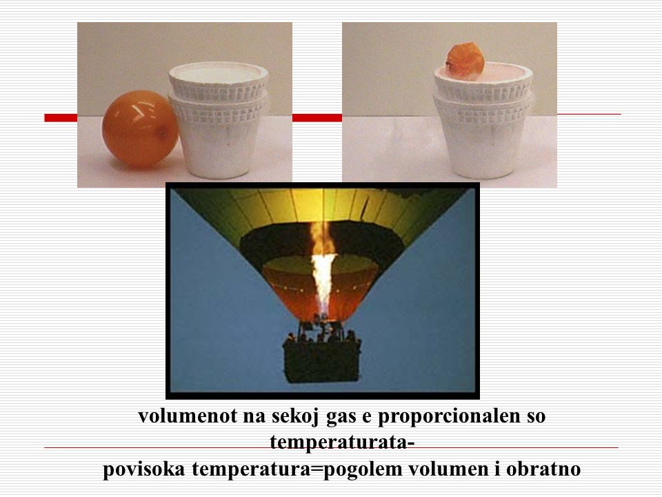 volumenot na sekoj gas e proporcionalen so temperaturata- povisoka temperatura=pogolem volumen i obratno