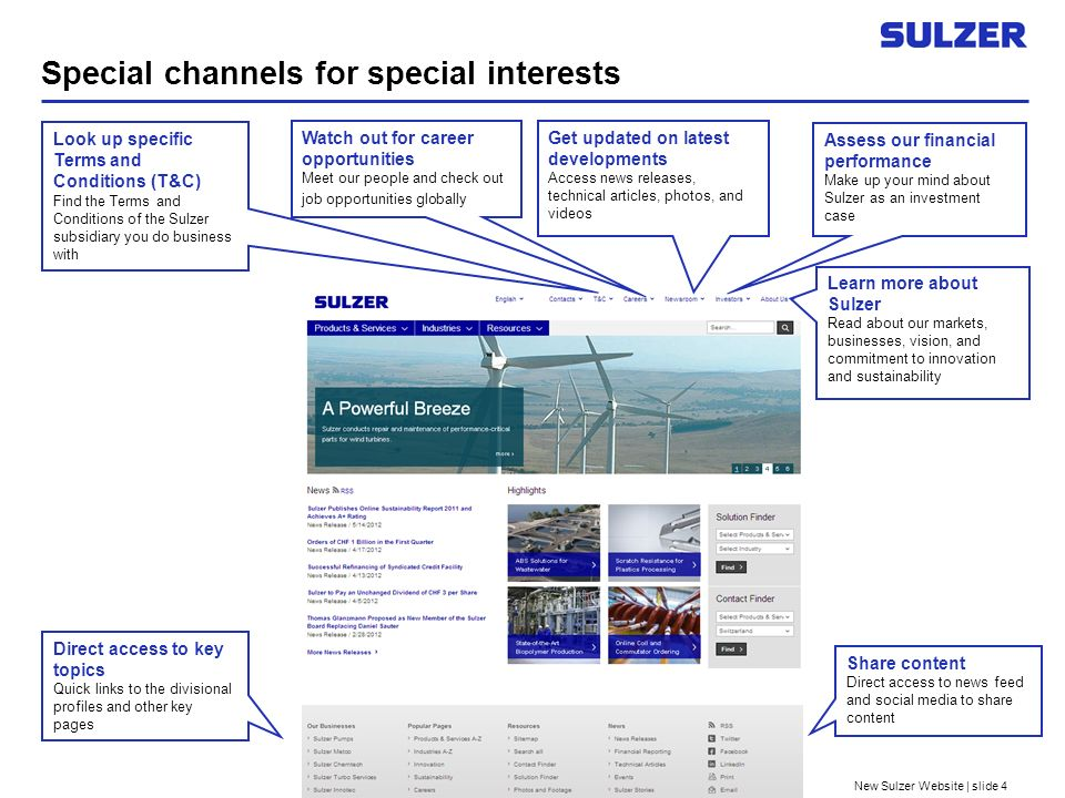New Sulzer Website | slide 4 Special channels for special interests Look up specific Terms and Conditions (T&C) Find the Terms and Conditions of the Sulzer subsidiary you do business with Get updated on latest developments Access news releases, technical articles, photos, and videos Assess our financial performance Make up your mind about Sulzer as an investment case Watch out for career opportunities Meet our people and check out job opportunities globally Learn more about Sulzer Read about our markets, businesses, vision, and commitment to innovation and sustainability Direct access to key topics Quick links to the divisional profiles and other key pages Share content Direct access to news feed and social media to share content