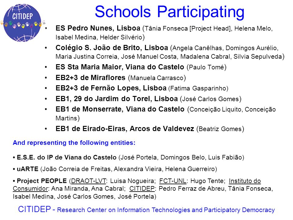 CITIDEP promotes network with scientists, teachers and students Using Internet (web broadcast) and videoconference to allow access of remote areas and portuguese student communities abroad Lisboa (Pt) Viana do Castelo (Pt) Açores Islands (Pt) Nantes (Fr) Manchester (UK) Edinbourgh (UK) Lisbon schools were part of the Benzene sampler net