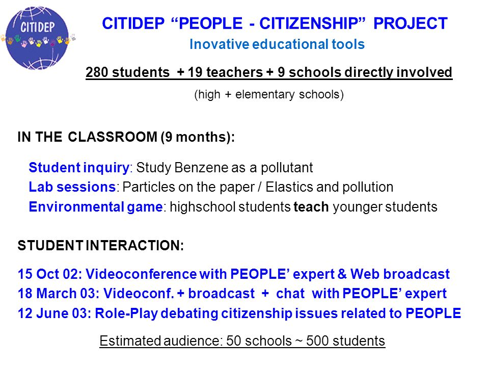 IN THE CLASSROOM (9 months): Student inquiry: Study Benzene as a pollutant Lab sessions: Particles on the paper / Elastics and pollution Environmental