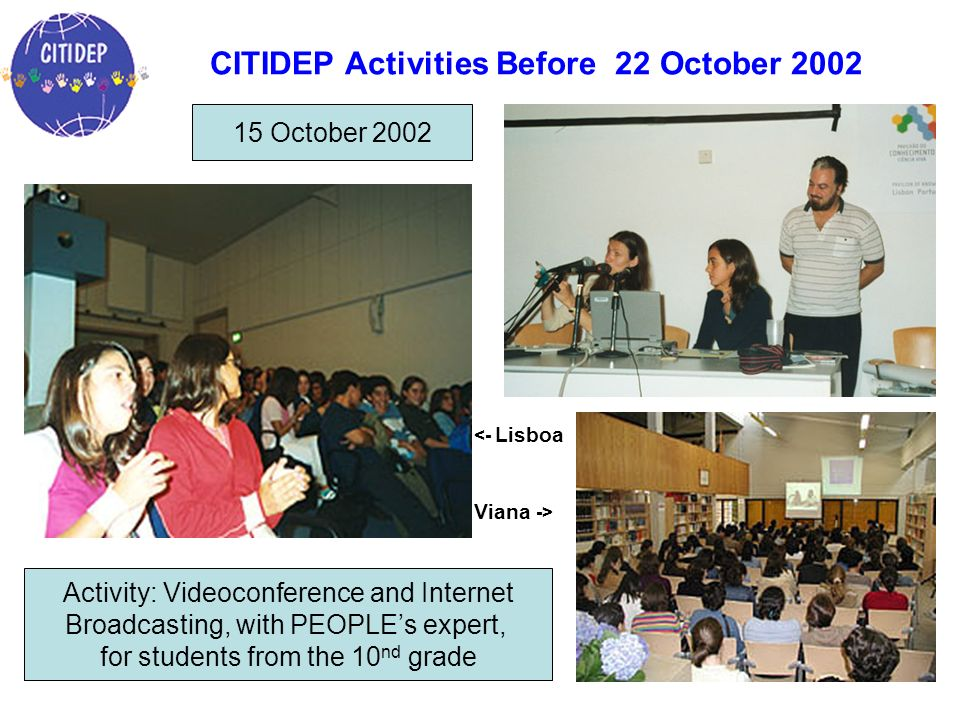 CITIDEP Activities Before 22 October 2002 Activity: Videoconference and Internet Broadcasting, with PEOPLEs expert, for students from the 10 nd grade