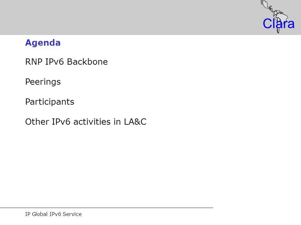 IP Global IPv6 Service Clara RNP IPv6 Backbone Peerings Participants Other IPv6 activities in LA&C Agenda