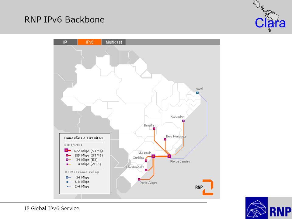 IP Global IPv6 Service Clara RNP IPv6 Backbone