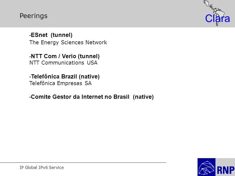 IP Global IPv6 Service Clara Peerings ESnet (tunnel) The Energy Sciences Network NTT Com / Verio (tunnel) NTT Communications USA Telefônica Brazil (native) Telefônica Empresas SA Comite Gestor da Internet no Brasil (native)