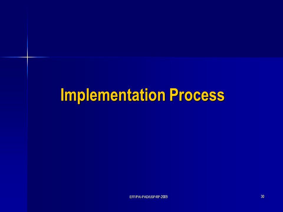 EFF/PAI-PAD/USP-RP-2009 30 Implementation Process