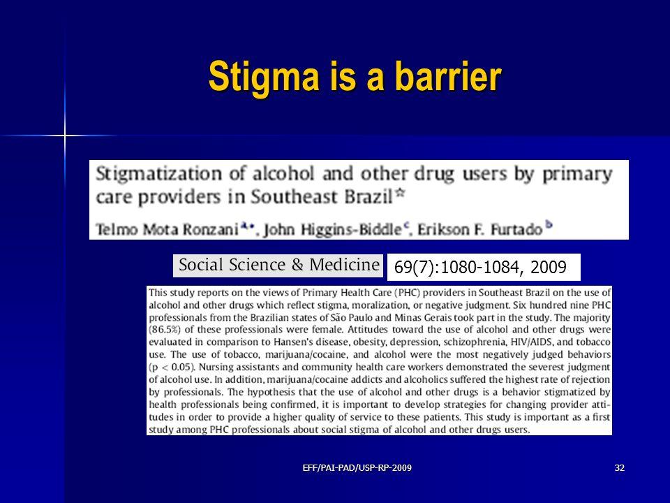 Stigma is a barrier EFF/PAI-PAD/USP-RP-200932 69(7):1080-1084, 2009