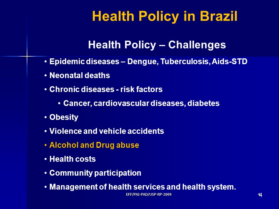 EFF/PAI-PAD/USP-RP-20094 4 Health Policy in Brazil Epidemic diseases – Dengue, Tuberculosis, Aids-STD Neonatal deaths Chronic diseases - risk factors