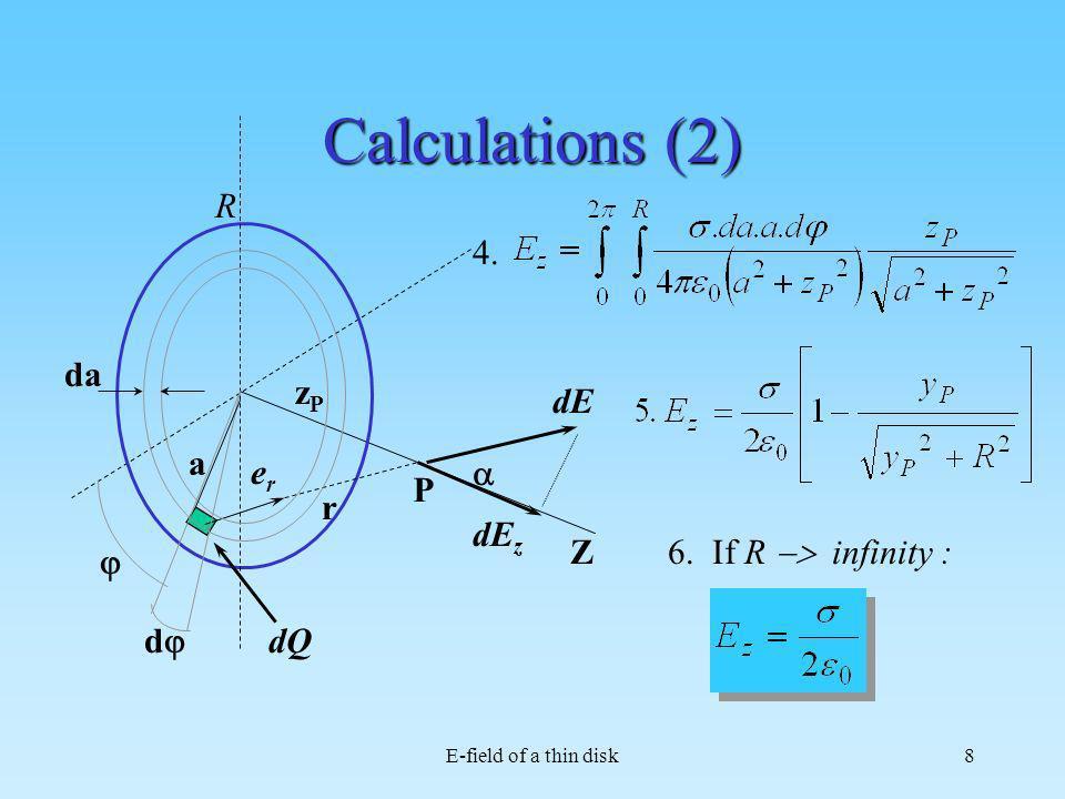 E-field of a thin disk8 Calculations (2) R Z dQ dE erer r P a d da dE z zPzP 4. 6. If R infinity :