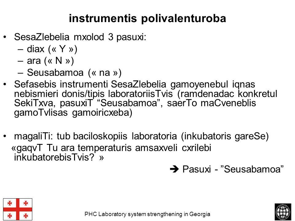 PHC Laboratory system strengthening in Georgia instrumentis polivalenturoba SesaZlebelia mxolod 3 pasuxi: –diax (« Y ») –ara (« N ») –Seusabamoa (« na