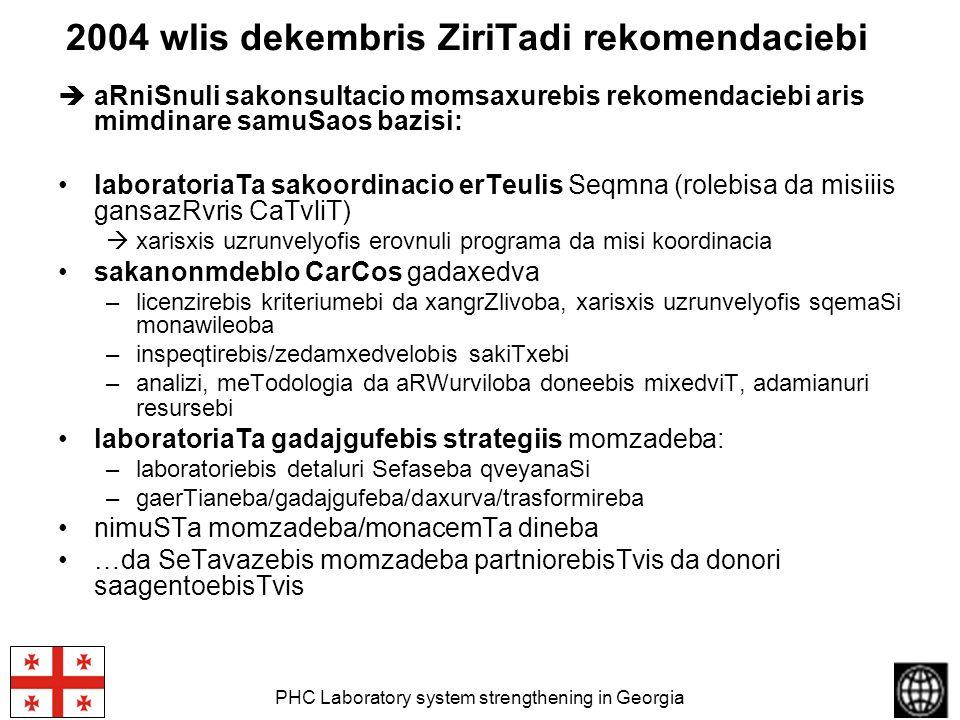PHC Laboratory system strengthening in Georgia 2004 wlis dekembris ZiriTadi rekomendaciebi aRniSnuli sakonsultacio momsaxurebis rekomendaciebi aris mi