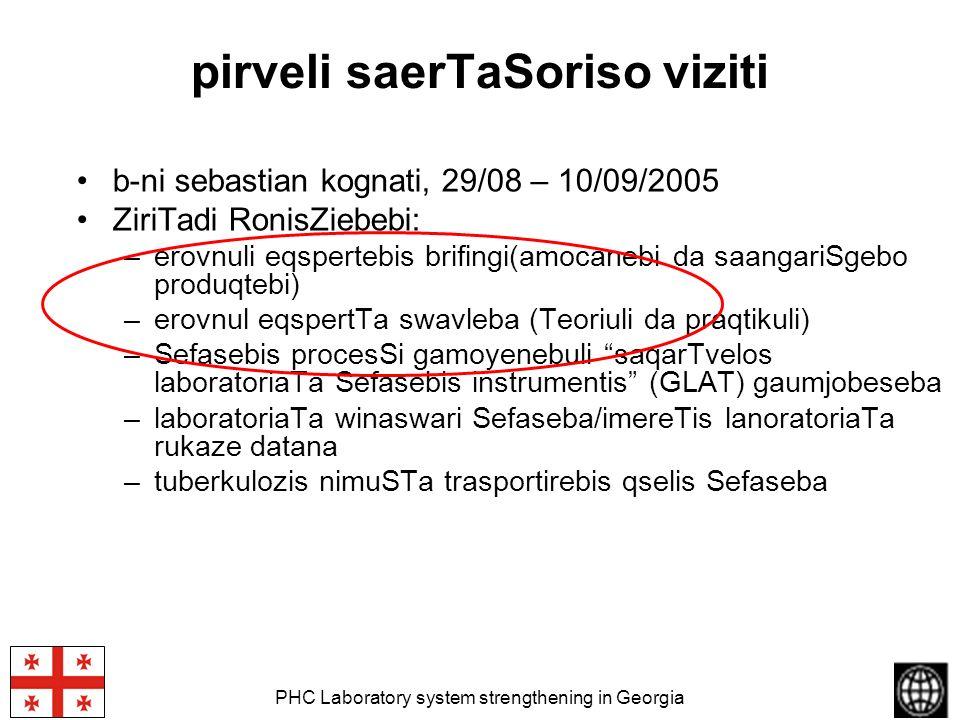 PHC Laboratory system strengthening in Georgia pirveli saerTaSoriso viziti b-ni sebastian kognati, 29/08 – 10/09/2005 ZiriTadi RonisZiebebi: –erovnuli
