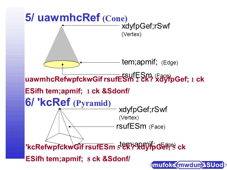 3/ pufvkH; (Sphere) rsufESm (Face) pufvkH;wpfckwGif rsufESmwpfckwnf;om&Sdonf/ 4/ vkH;&Snf (Cylinder) vkH;&SnfwpfckwGif tem;apmif; (2)ckESifh rsufESm(2) ck&Sdonf/ rsufESm (Face) tem;apmif; (Edge) a&SUodkYaemufokdY rmwdum