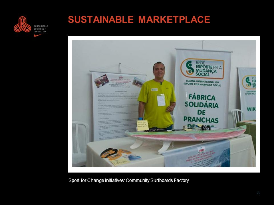 22 SUSTAINABLE MARKETPLACE Sport for Change initiatives: Community Surfboards Factory