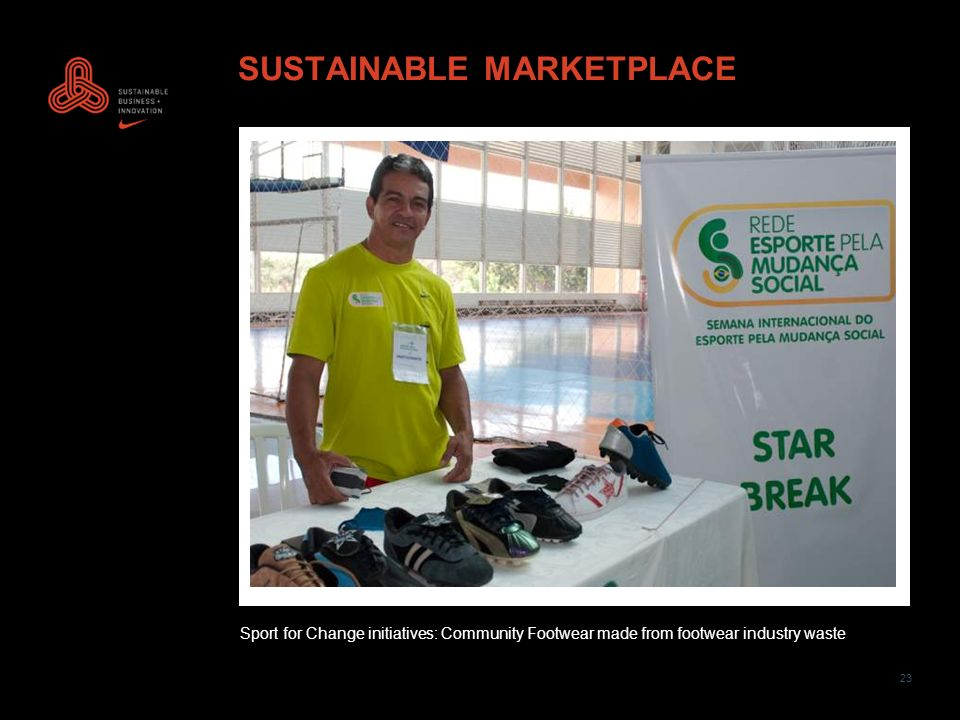 23 SUSTAINABLE MARKETPLACE Sport for Change initiatives: Community Footwear made from footwear industry waste