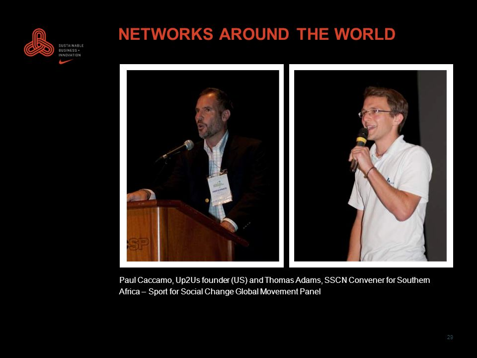 29 NETWORKS AROUND THE WORLD Paul Caccamo, Up2Us founder (US) and Thomas Adams, SSCN Convener for Southern Africa – Sport for Social Change Global Movement Panel