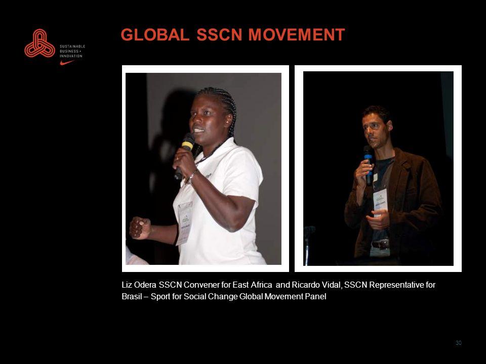 30 GLOBAL SSCN MOVEMENT Liz Odera SSCN Convener for East Africa and Ricardo Vidal, SSCN Representative for Brasil – Sport for Social Change Global Movement Panel