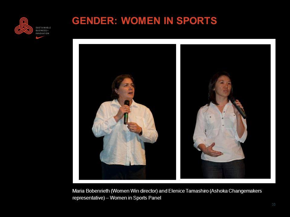 33 GENDER: WOMEN IN SPORTS Maria Bobenrieth (Women Win director) and Elenice Tamashiro (Ashoka Changemakers representative) – Women in Sports Panel