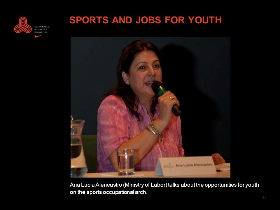 34 SPORTS AND JOBS FOR YOUTH Ana Lucia Alencastro (Ministry of Labor) talks about the opportunities for youth on the sports occupational arch.