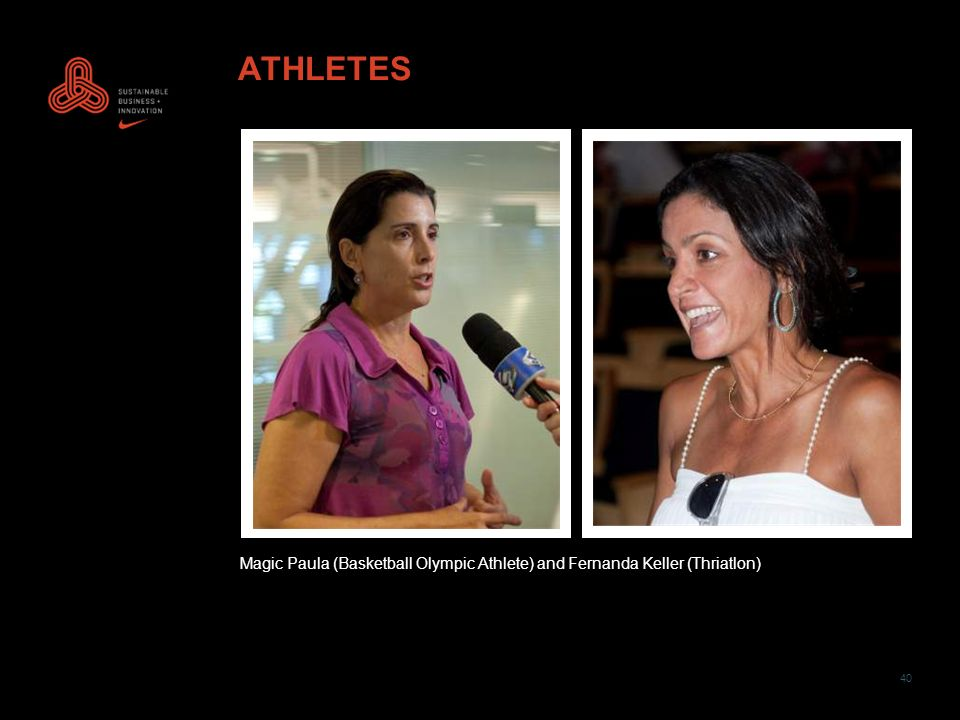 40 ATHLETES Magic Paula (Basketball Olympic Athlete) and Fernanda Keller (Thriatlon)