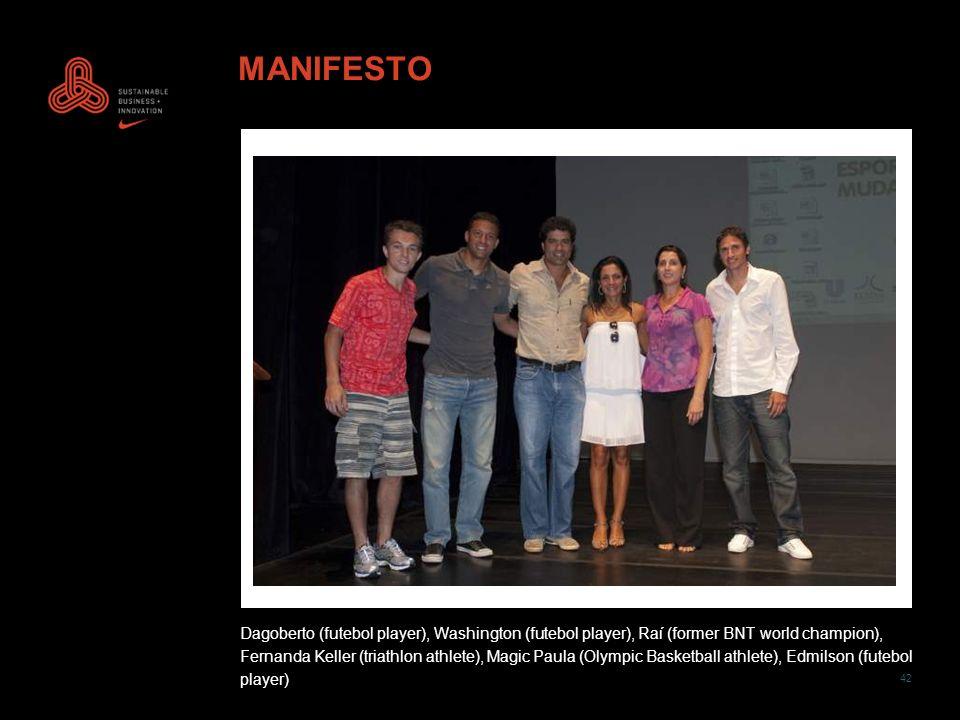 42 MANIFESTO Dagoberto (futebol player), Washington (futebol player), Raí (former BNT world champion), Fernanda Keller (triathlon athlete), Magic Paul