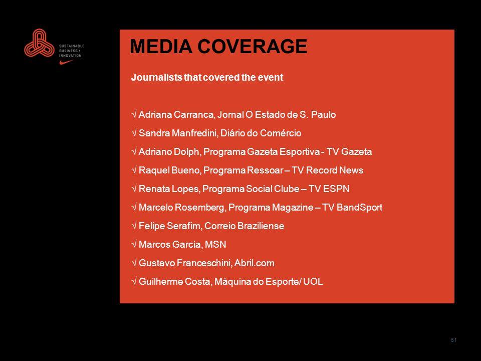 51 MEDIA COVERAGE Journalists that covered the event Adriana Carranca, Jornal O Estado de S. Paulo Sandra Manfredini, Diário do Comércio Adriano Dolph