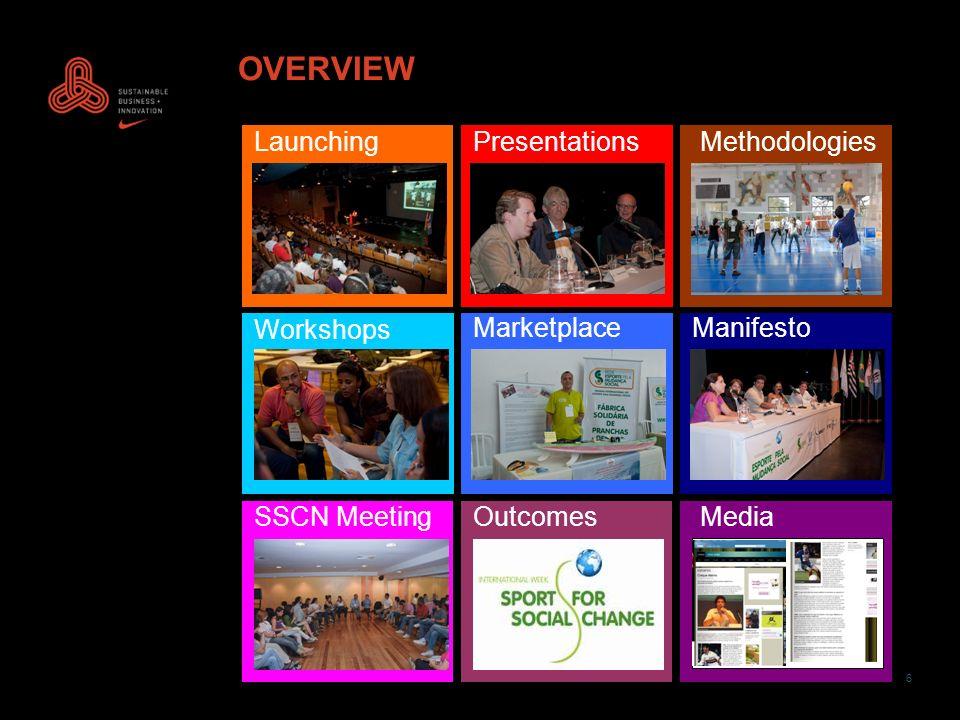 6 OVERVIEW LaunchingPresentationsMethodologies Workshops MarketplaceManifesto SSCN MeetingOutcomesMedia