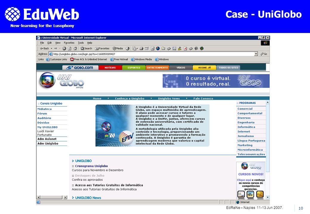EdReNe – Naples 11-13 Jun 2007. 10 New-learning for the Lusophony Case - UniGlobo