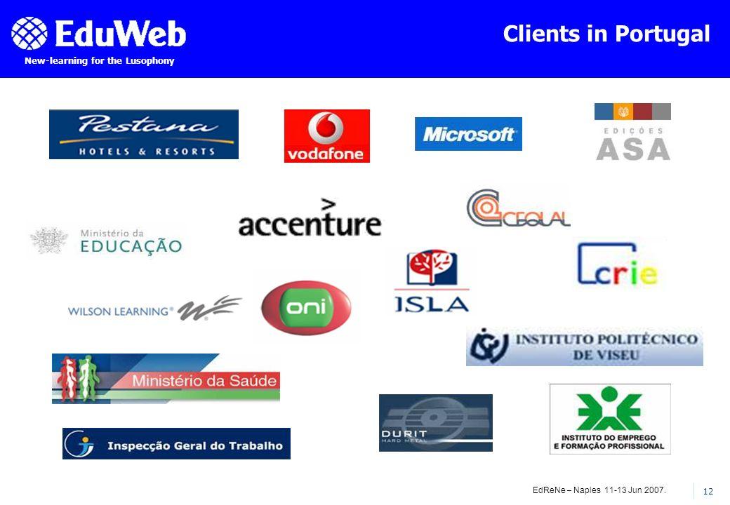 EdReNe – Naples 11-13 Jun 2007. 12 New-learning for the Lusophony Clients in Portugal
